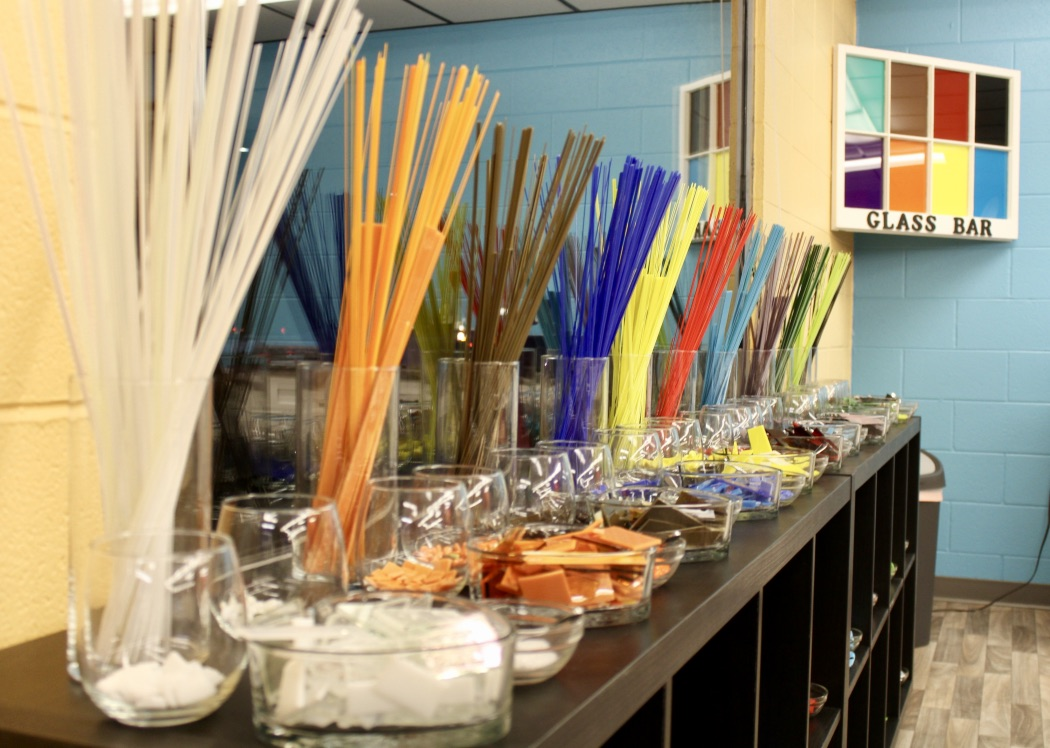 Visit our glass bar and create something!